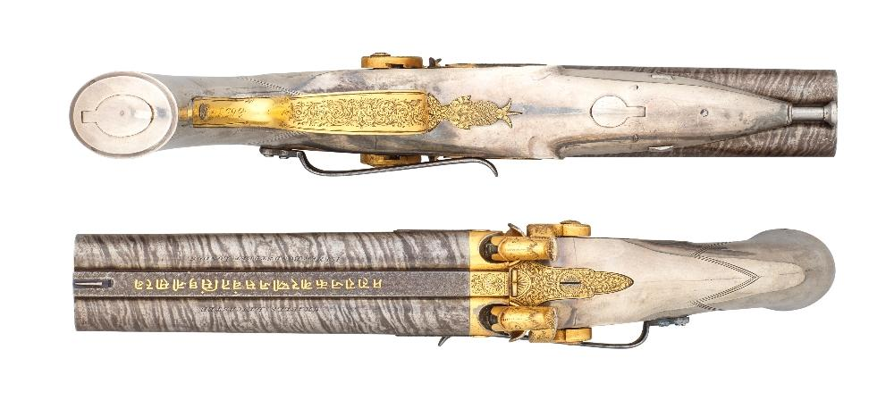 A FINE CASED PAIR OF ROYAL 20 BORE D B  PERCUSSION RIFLED HOWDAH